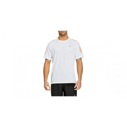 ASICS ICON SS TOP BRILLIANT WHITE/FLASH CORAL - UOMO