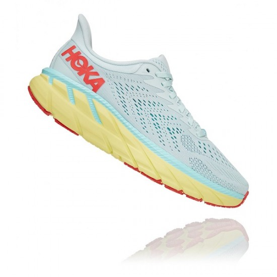 Hoka One One Clifton 7 donnaMorning Mist/Hot Coral