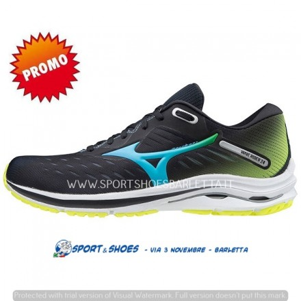 MIZUNO WAVE RIDER 24 UOMOBLACK/BLUE/YELLOW