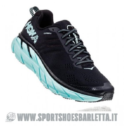 HOKA ONE ONE CLIFTON 6 donna BLACK/ACQUA SKY