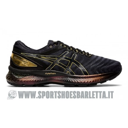 ASICS GEL NIMBUS 22 PLATINUM BLACK/PURE GOLD